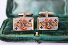 Vintage Gold cufflinks with a king of spades mother of pearl #C71