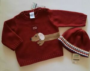 NWT Gymboree DOGGY WANTS A BONE Vintage Sweater and Hat  6-12 Months