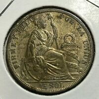 1908 PERU SILVER 1/2 SOL HIGH GRADE COIN