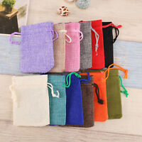 Natural Jute Hessian Drawstring Pouch Burlap Wedding Favor Gift Bags 5/10/20Pcs