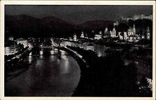 Salzburg Österreich Austria ~1940 Beleuchtung Lichter Nacht Stadt Salzach Fluß