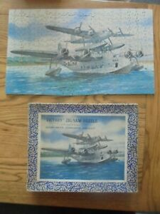 """VINTAGE  VICTORY WOODEN JIGSAW PUZZLE  """"SHORT-MAYO COMPOSITE AIRCRAFT"""""""
