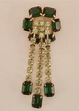 1960's Green Emerald Cut Rhinestone Light Green Dangling Drops Brooch  ES-264
