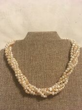 Real Pearl Necklace Pretty Vintage Southwestern Artisan 5 Strand