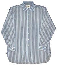 MINT PREOWNED DUNHILL LONDON LIGHT BLUE WHITE BLACK STRIPE DRESS SHIRT 44 17.5