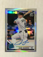 JAKE BAUERS 2019 Donruss Optic HOLO PRIZM SP BLUE INK RC AUTO SILVER REFRACTOR!