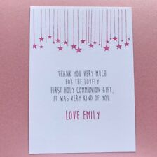 10 Personalised 1st First Holy Communion Thank You Cards - Girls