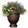 Bronze Plastic Rattan Urn, Planter, Outdoor Flower Pot Garden Porch Yard 13 in.