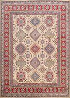 Geometric Vegetable Dye Super Kazak Oriental Area Rug IVORY Hand-knotted 8'x10'