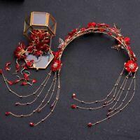 Chinese Traditional Red Flower Bridal Headdress Hair Jewelry Tassel Earrings Set