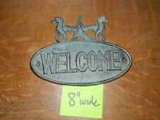 Cast Iron Sea Horse Nautical Decor Welcome Sign Plaque Door Wall Mount Garden