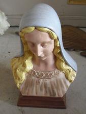 "Vintage Holland Mold Ceramic Virgin Mary Bust Figurine 7 1/4"" Tall"