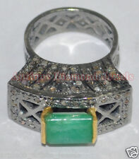 Victorian Look 925 Silver Cocktail Ring 1.82cts Rose Cut Diamond Emerald Antique
