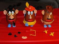 1973 Hasbro Mr. & Mrs. Potato Head Lot of 3 Figures with Accessories