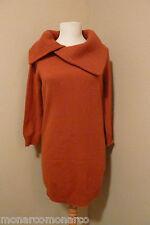 NWT Le Pavot Burnt Sienna Pure Cashmere Fichu Neckline Tunic Sweater SZ S $495