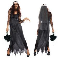 Womens Ladies Zombie Brida Bridal Black Fancy Dress Halloween Costume One Siz