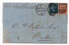 More details for 1868 letter to malta sg 45 - 2d blue pl 9 ( sk ) & 94 4d vermilion pl 9 ( fd )