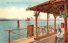 Lakeside Park Pier, Lake Tahoe, California Steamboat ca 1910s Vintage Postcard