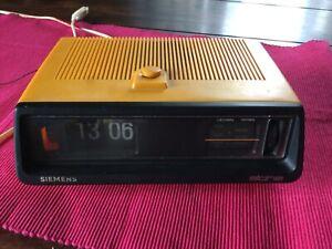 70er Klappzahlen Radiowecker Siemens alpha RG223 orange Vintage Clip Clock