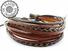 BROWN LEATHER SURFER MULTI STRAND BRACELET BEACH BOHO WRIST BAND WRAP MENS CUFF