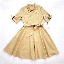 CALVIN KLEIN Womens 14 Shirtdress Tie Waist NWT Cotton A-Line Tan Short Sleeve