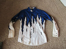 Brooks & Dunn Blue fire flames western Long Sleeve button shirt Men's Medium