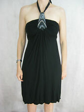Ted Baker Size 8 Black Party Tie-Up Dress LBD