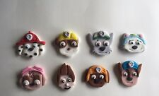 8 X CUP CAKE TOPPERS EDIBLE  DECORATIONS PAW PATROL CHARACTER HEADS DOGS