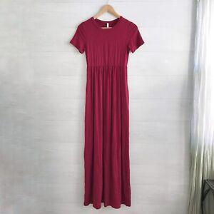 NWT Pink Blush - Maroon tee shirt maternity maxi dress short sleeves, S