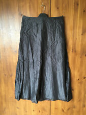 WRAP LONDON MIDI A-LINE SUMMER SKIRT Dark Grey 100% SILK UK 8 10 12 - NEW
