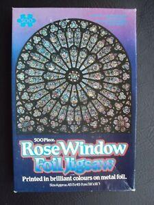 VINTAGE NOTRE DAME ROSE WINDOW FOIL 500 PIECE JIGSAW COMPLETE VGC