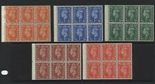 1951 ½d- 2½d COLOUR CHANGE SET OF FIVE U/MINT BOOKLET PANES. SG 503-7
