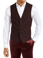 INC Mens Suit Vest Black Red Size XLT Tall Windowpane Slim Fit 5-Button $89 166