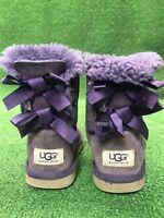 UGG Australia Bailey Bow 3280T Sheepskin Boots Purple Girl's Toddler Size: 12