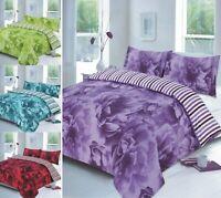 Luxuries Reversible ROSE FLORAL Duvet Cover + Pillow Case Bedding Set Al Size