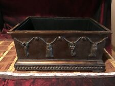 "Decorative Footed Box with Black Lining, Key & Tassle Design 13 1/4""x9"""