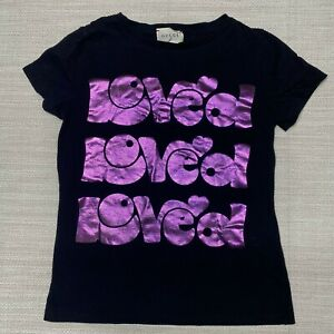Gucci Black Purple Loved T-Shirt Girls 8 Crew Neck Short Sleeve Made In Italy