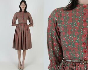 Vtg 50s Lanz Original Dirndl Dress Red Floral Austrian Oktoberfest Party Mini