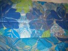 Sultans Linens PEVA Vinyl Bold Tropical Blue Green Shower Curtain 13pc Hooks NEW
