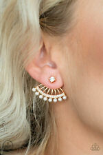Dainty Pearls, Gold Jacket Earring Drama Queen Dimension, White Rhinestones,