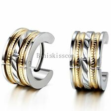 2Pcs Stainless Steel Hinged Hoop Huggie Snap on Earrings Men's Jewelry Fashion