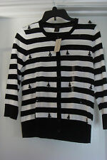 NWT WOMEN ANN TAYLOR 3/4 SLEEVE SWEATER COLOR: BLK /WHITE STRIPS W/BEADED