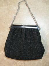 VINTAGE Black Sparkle EVENING BAG PURSE Silver/Gray METAL FRAME TOP Clutch GLAM!