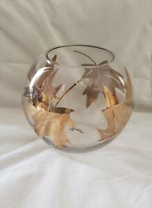Autumn / Fall Gold Leaves / Leaf Clear Glass Vase / Bowl