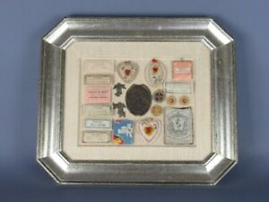 Painting Display Wall With Relics Sacred Of Xx Century Frame Wooden Silver