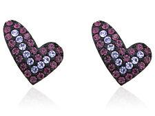 Black Heart Design Crystal Rhinestone Element Earrings Ear Studs Chic Xmas Gift