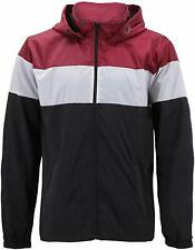 Men's Red Label Hooded Nylon Zip Up Lightweight Athletic Windbreaker Rain Jacket
