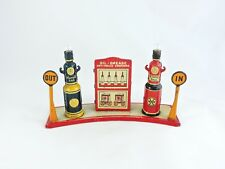 MARX Brightelite Filling Station Gas Pumps tin vintage 1930s fuel light In Out