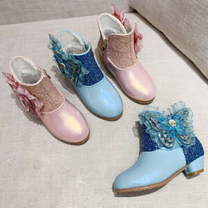 Kids Girls Sequin Rhinestone Butterfly Zip Princess Party Ankle Snow Boots Shoes