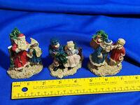 LOT 3 Family Traditions Xmas Village Miniature Figures VTG Santa Primitive-Style